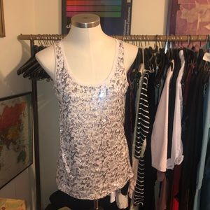 EXPRESS Sequin Silver Gold Cream Sparkly tank med